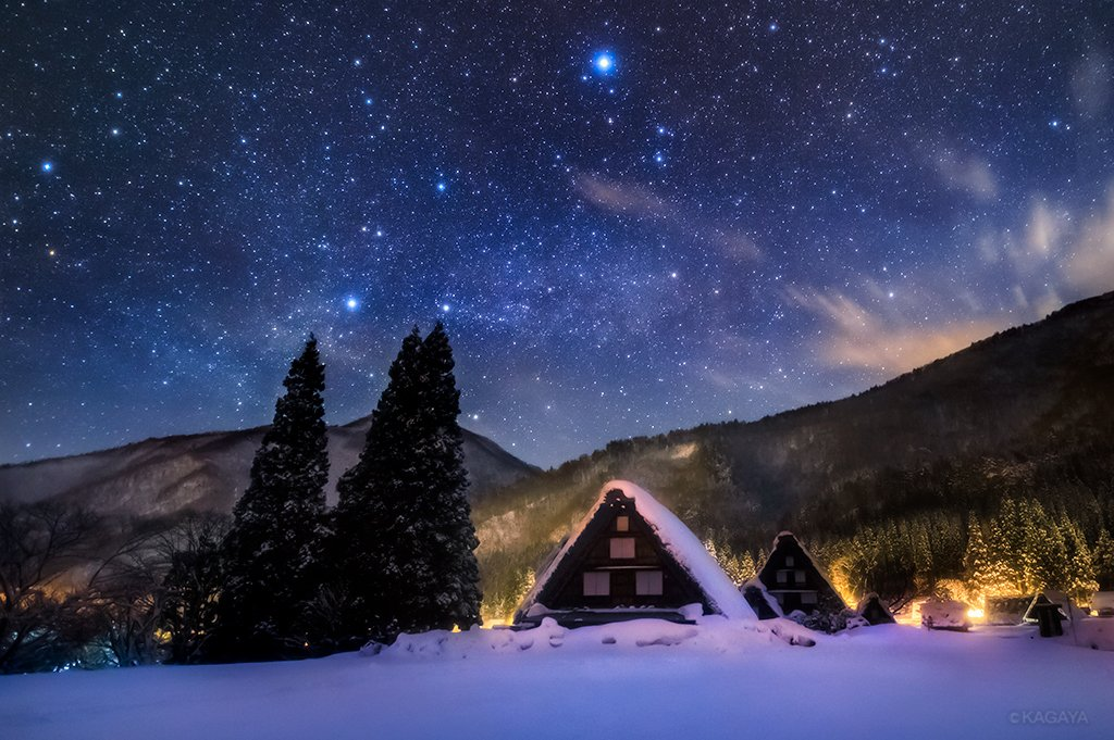 雪あかりに輝く世界遺産・白川郷★KAGAYAさんの星空写真をお ...